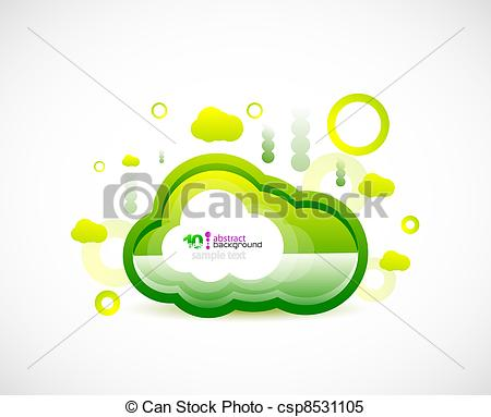 Clipart Vector of Clean cloud green space concept.