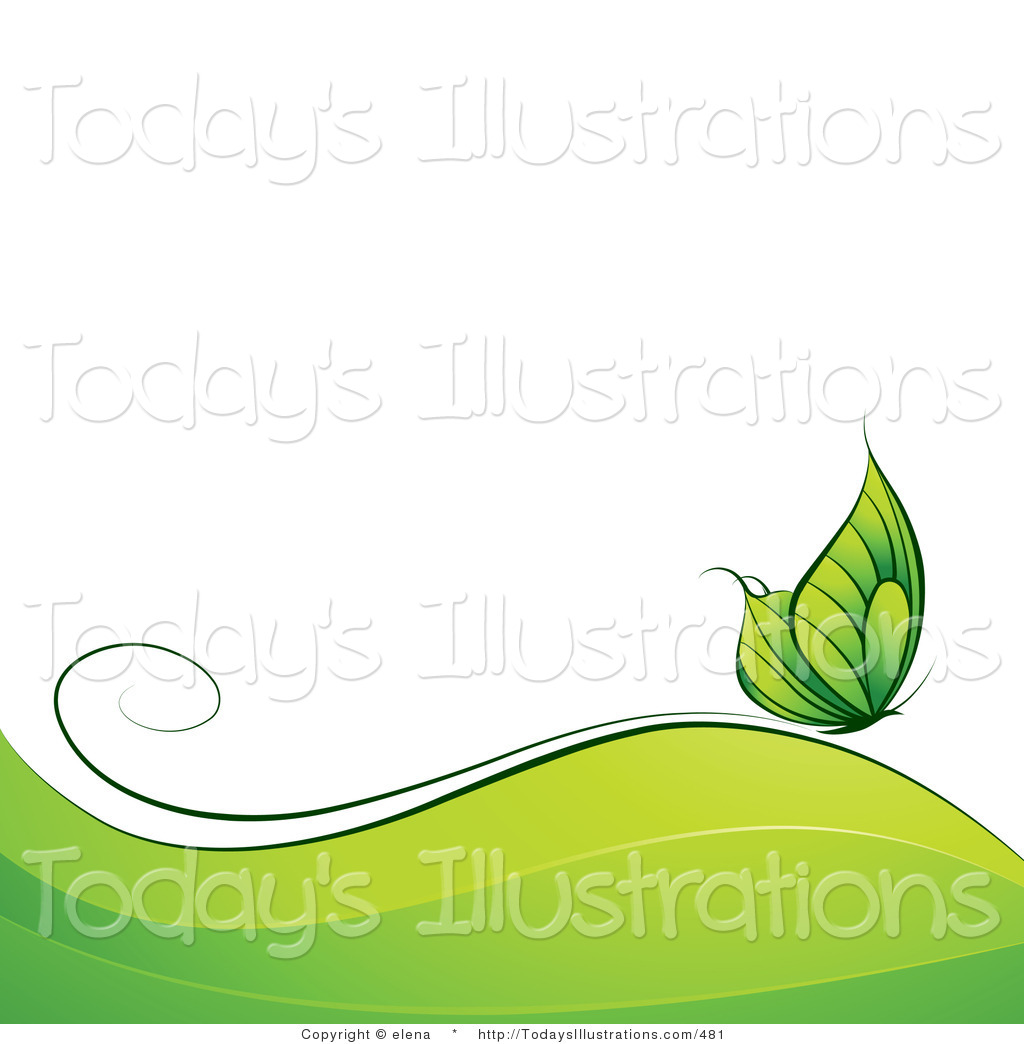 Clipart of a Green Butterfly over Green Waves with White Text.