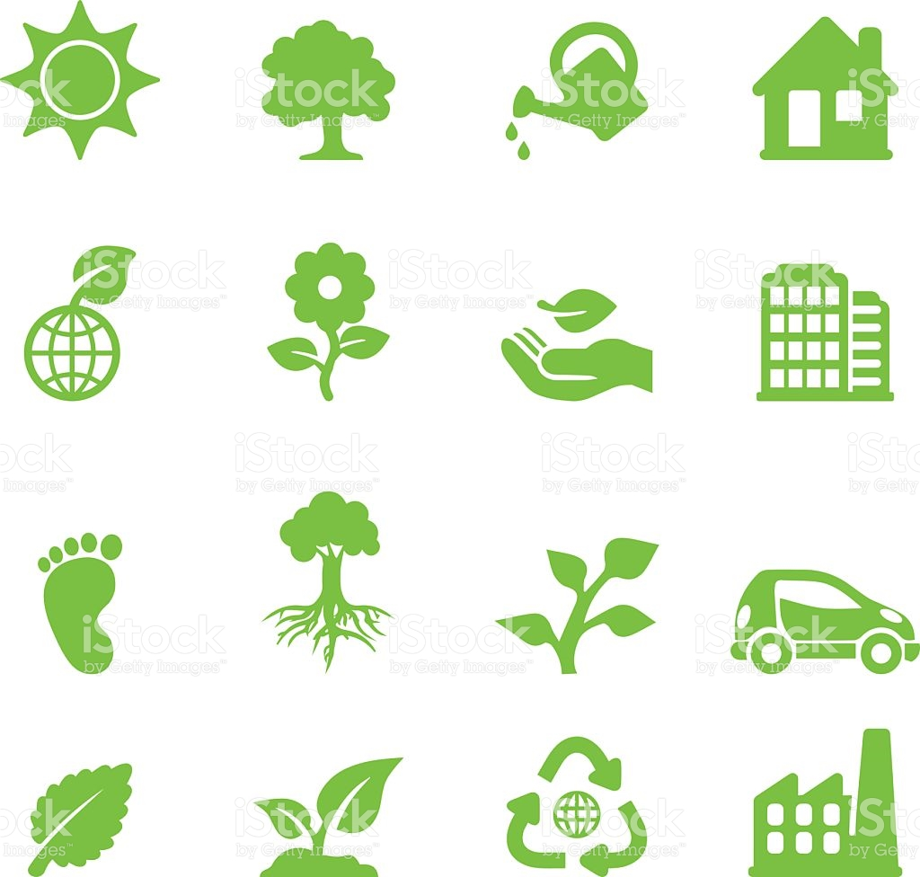 Ecology Green Silhouette Icons stock vector art 484077369.