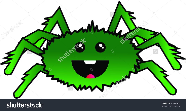 Green Spider Cartoon Vector.