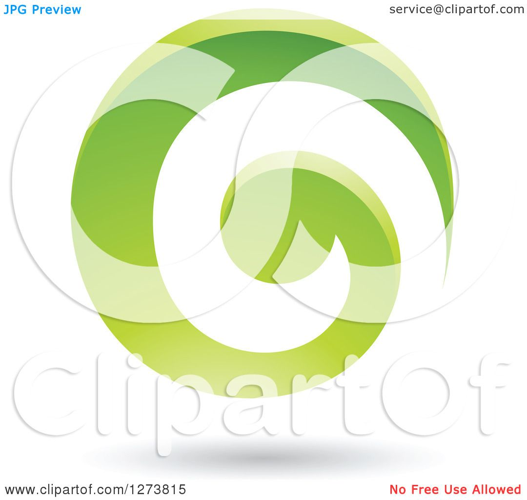 Clipart of a Green Spiral and Shadow.
