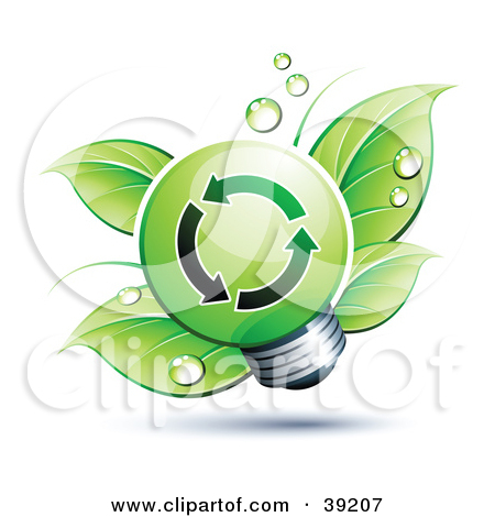 Clipart Illustration of Leaves Sprouting From A Green Spiral.