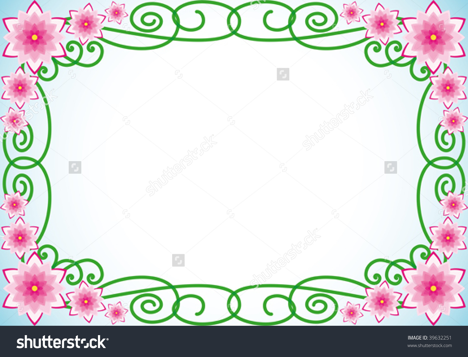 Floral Border With Pink Flowers And Green Spiral Leaves Stock.