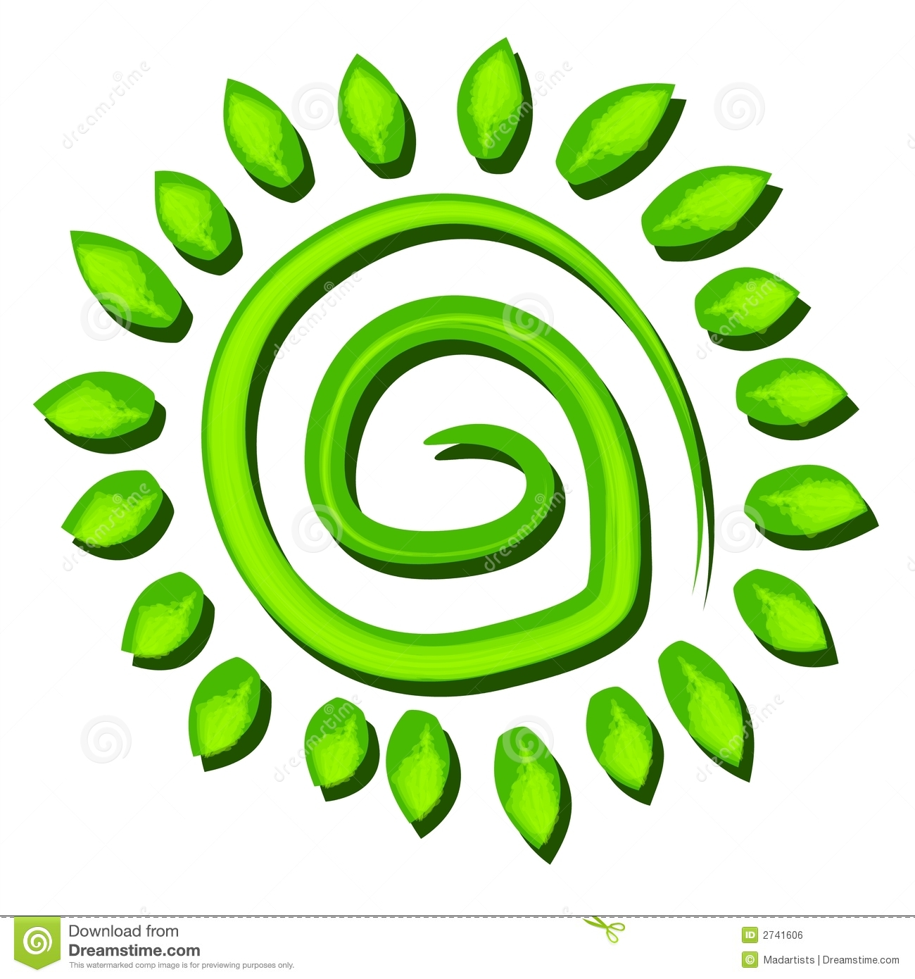 Green Tree Earth Symbol Spiral Royalty Free Stock Image.