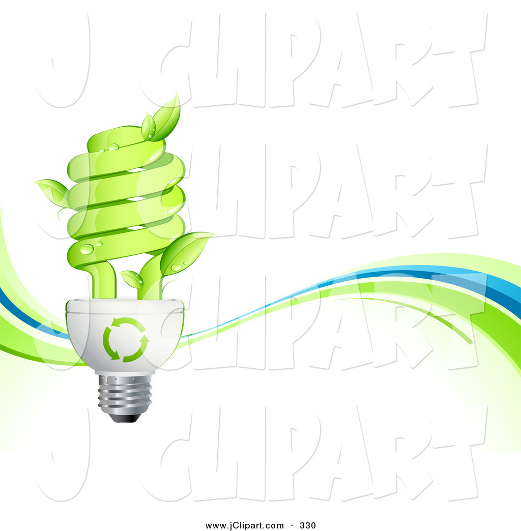 Vector Clip Art of a Leaves Sprouting from a Green Eco Friendly.