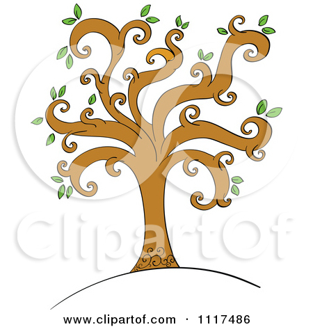 Vector Clipart Of A Spring Tree With Round Green Leaves And Spiral.