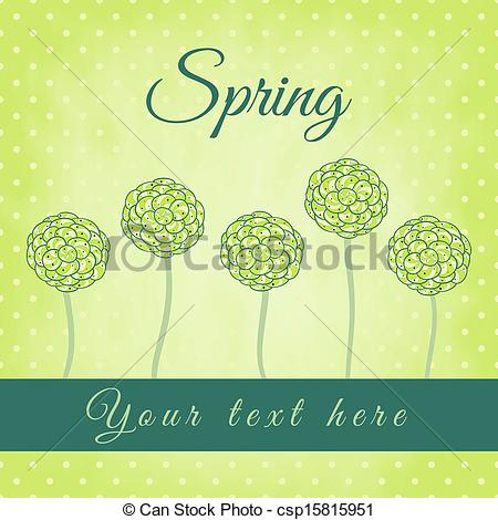 Clipart Vector of Tree with green spiral leaves, spring theme.