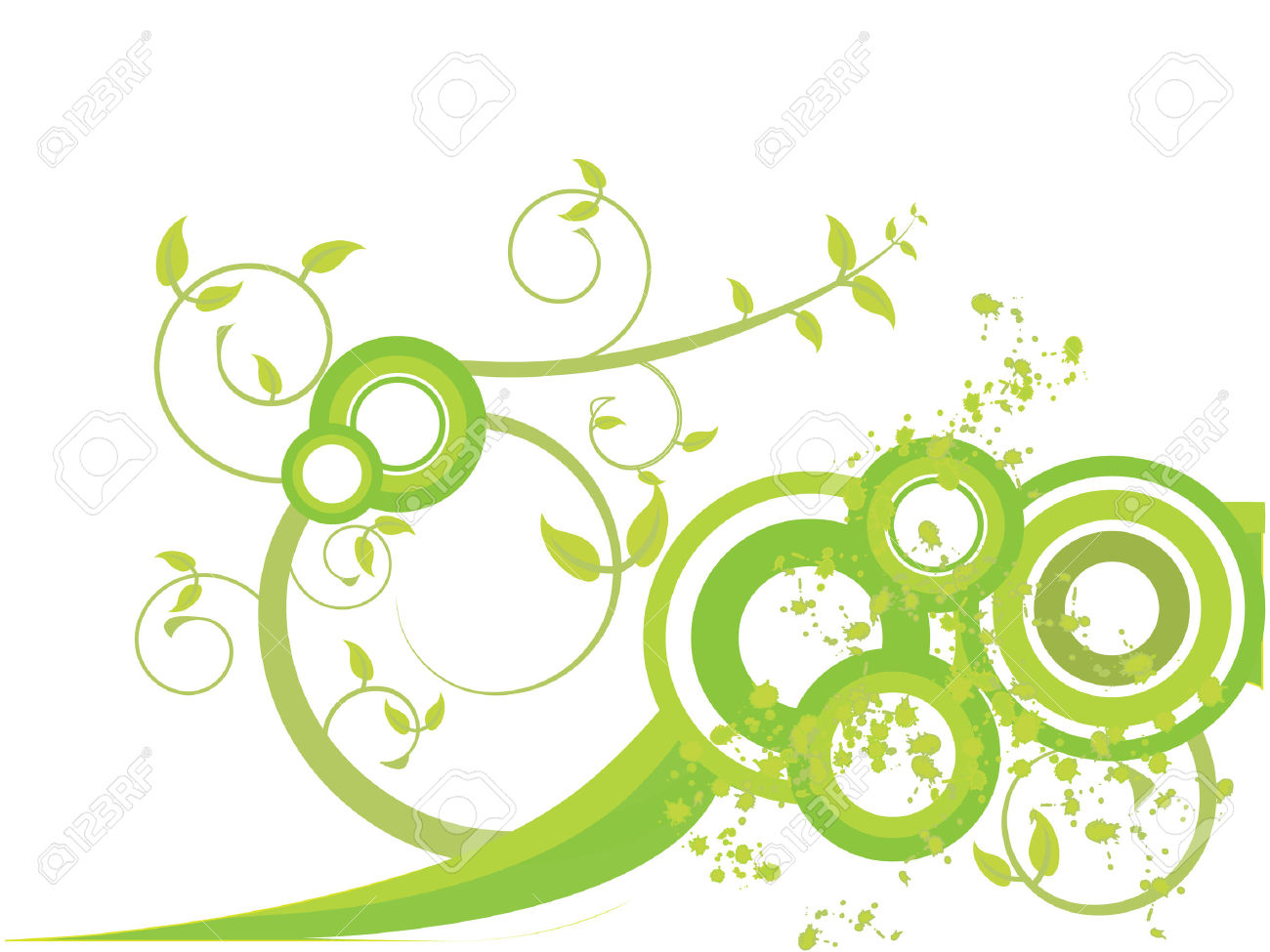 Green Leaves With Spirals And Splashes Royalty Free Cliparts.