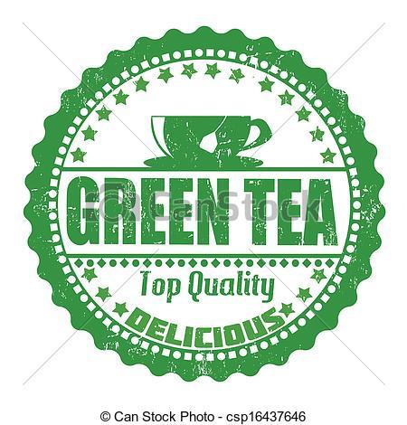 EPS Vector of Green Tea stamp.
