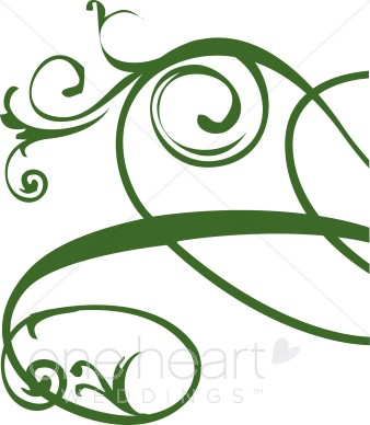 Green Right Edge Floral Flourish Clipart.