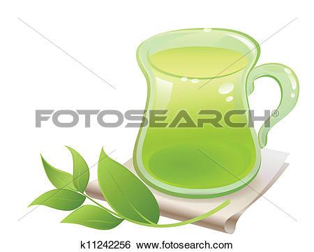 Clip Art of Green tea in glass cup k11242256.