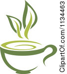 Clipart of a Green Tea Pot with Leaves.