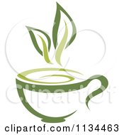 Clipart of a Pot of Green Tea with Leaves.