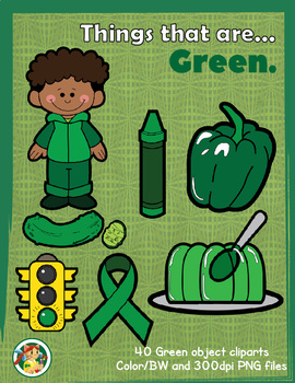 Things that are Green! Green Objects Clipart Set.