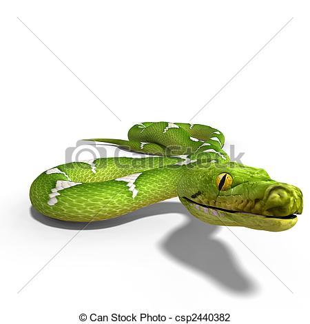 Clip Art of green tree python.