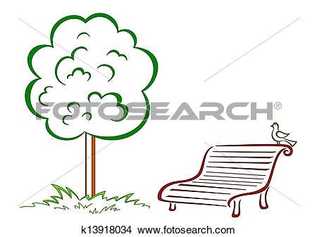 Drawings of Bird, park bench, green tree k13918034.
