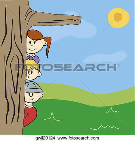Drawings of Two boys and a girl peeking from behind a tree.