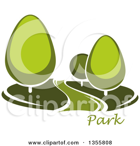 Clipart of a Park with Green Trees and a Path, Road or River over.