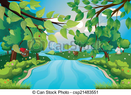 Clipart Vector of Hills and River.