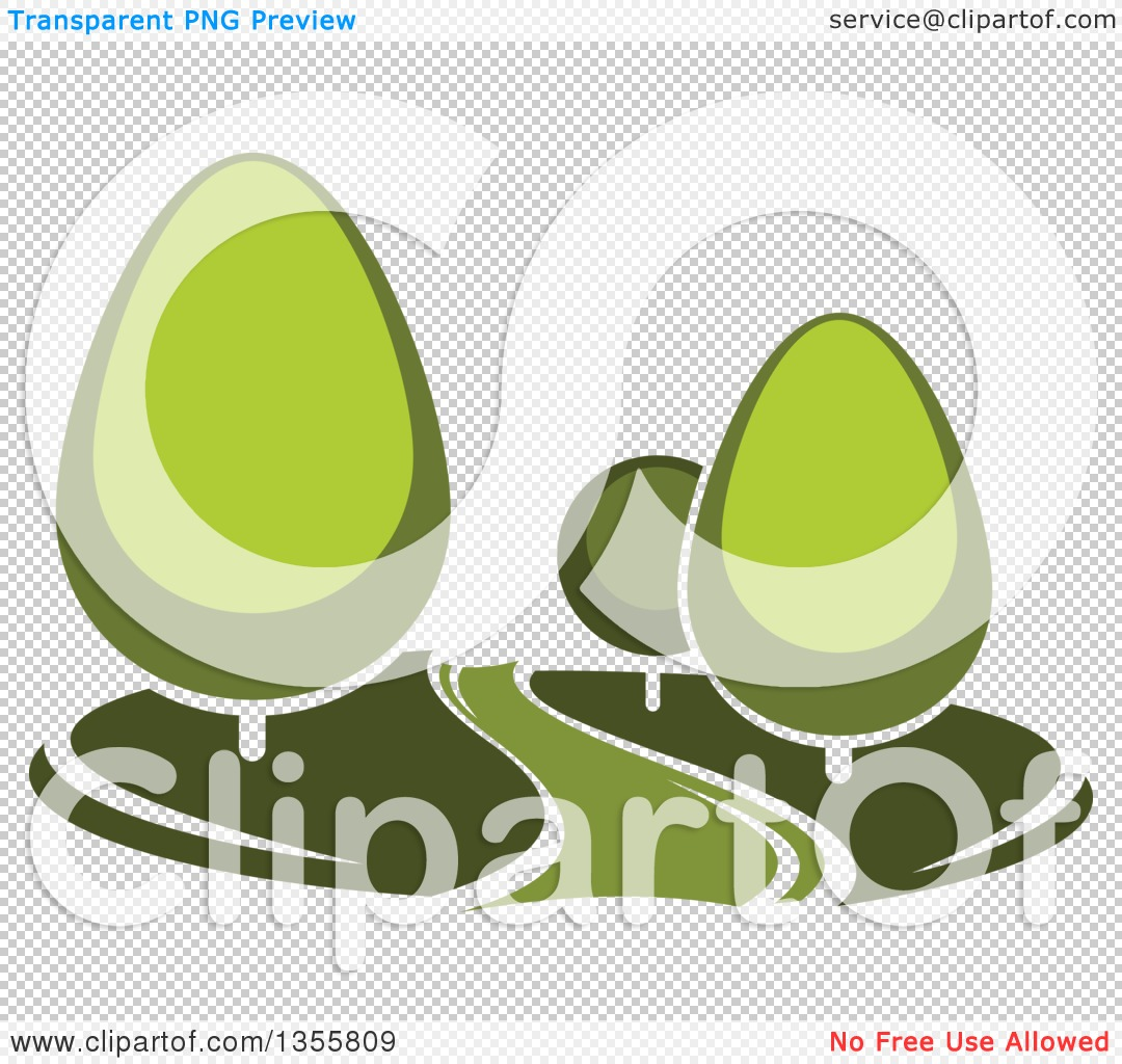 Clipart of a Park with Green Trees and a Path, Road or River.