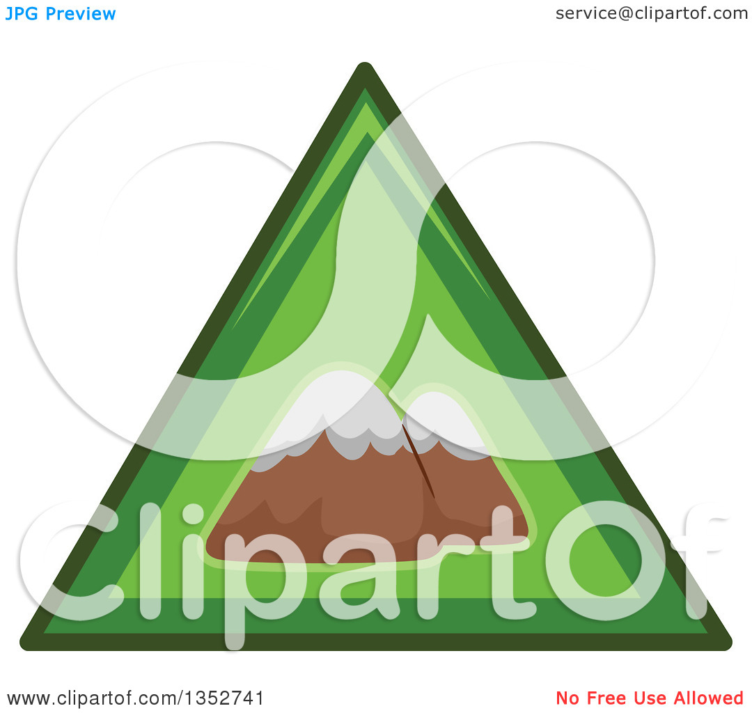 Clipart of a Green Triangle Mountains Icon.