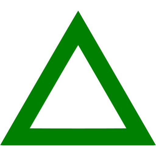 Green triangle outline icon.