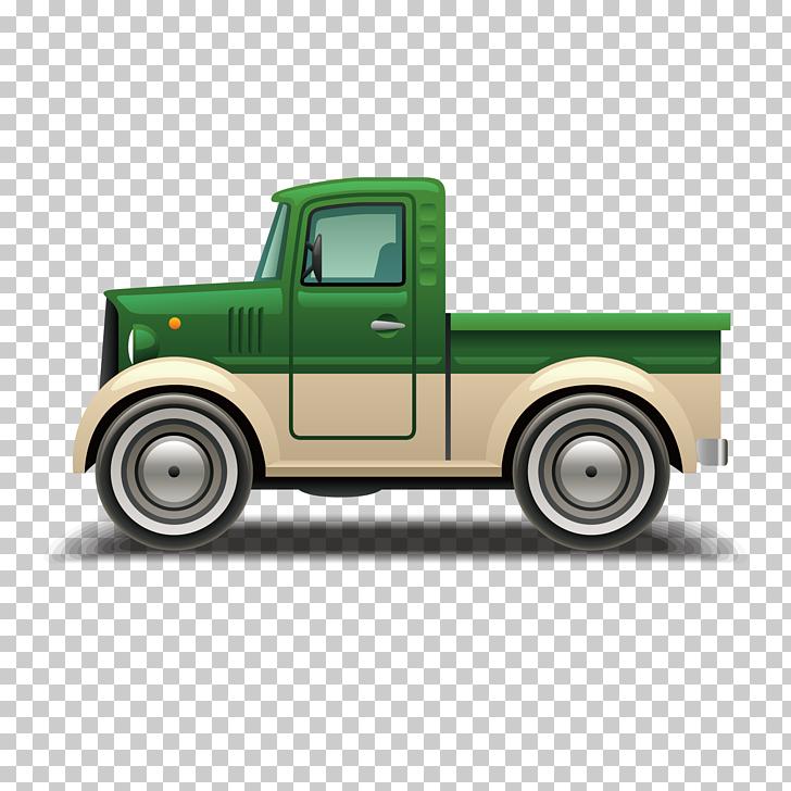 Car Van Pickup truck, green truck PNG clipart.