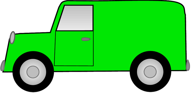 Green van truck sketch clipart.