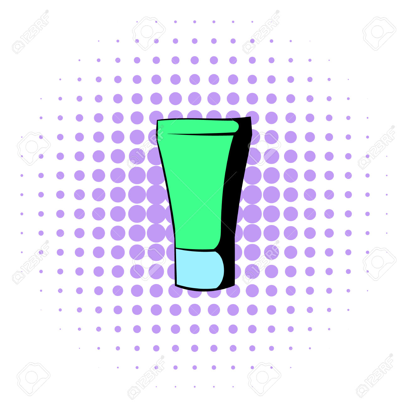 Green Cosmetic Tube Icon In Comics Style On A White Background.