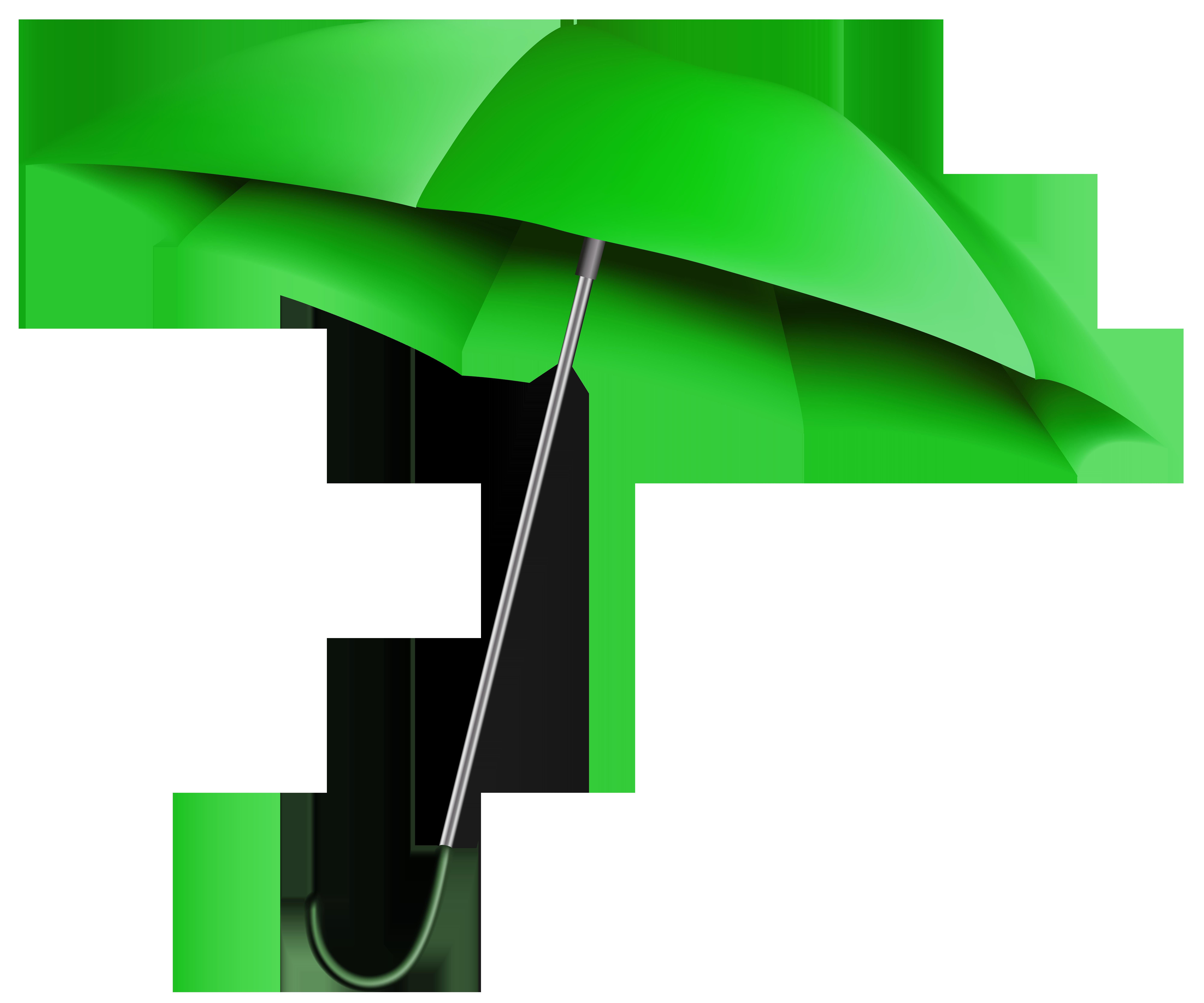 Green Umbrella Transparent PNG Clip Art Image.
