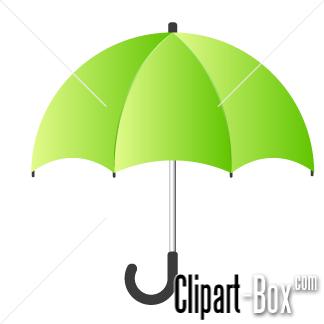 CLIPART GREEN UMBRELLA.