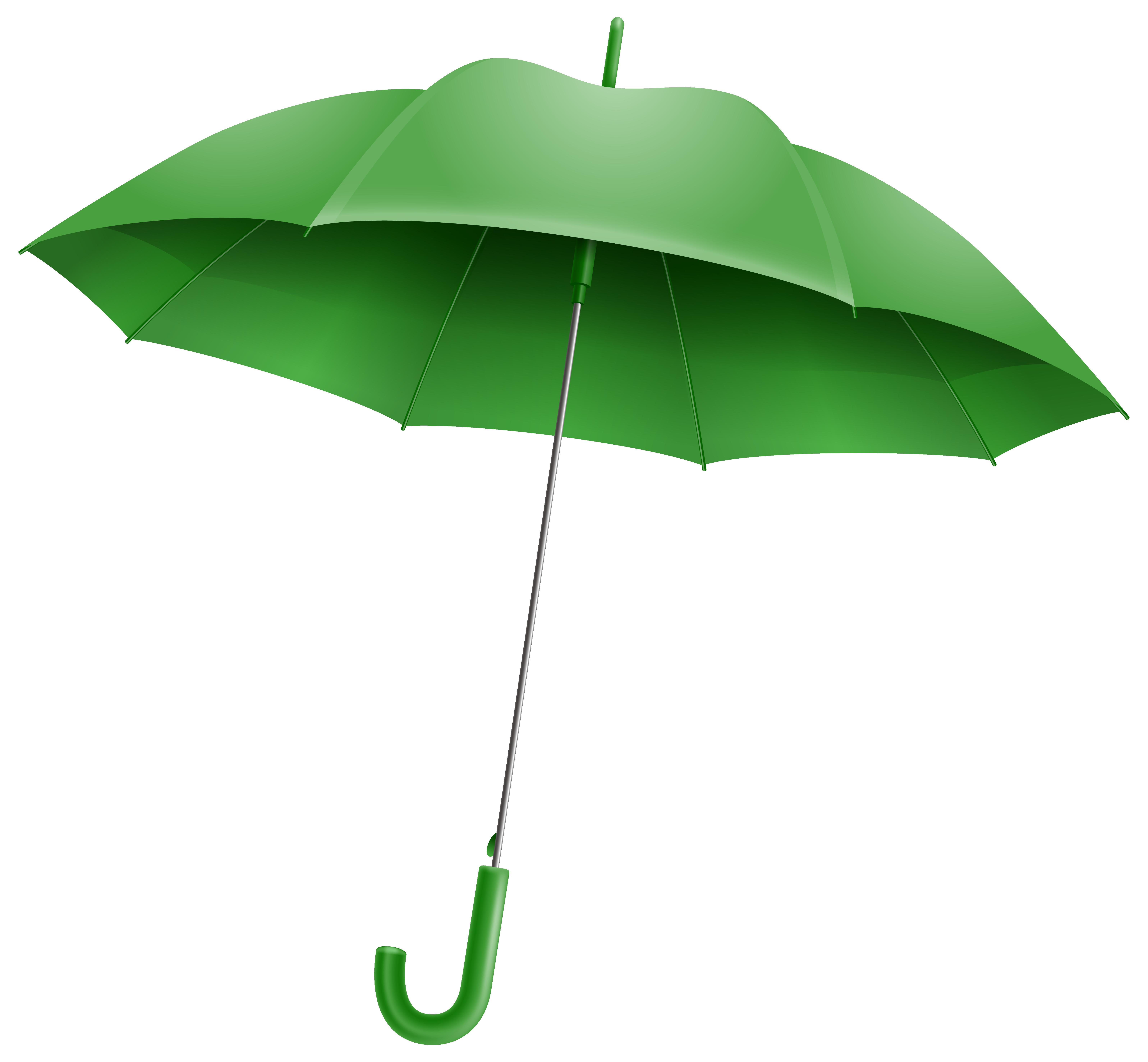 Green Umbrella PNG Clipart Image.