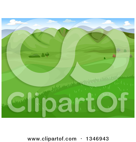 Clipart of a Landscape of a Green Valley with Hills.