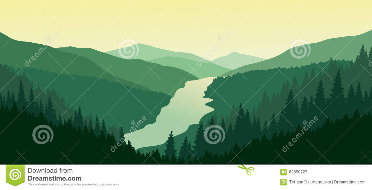 Mountain Range , River And Green Valley Royalty Free Stock Image.