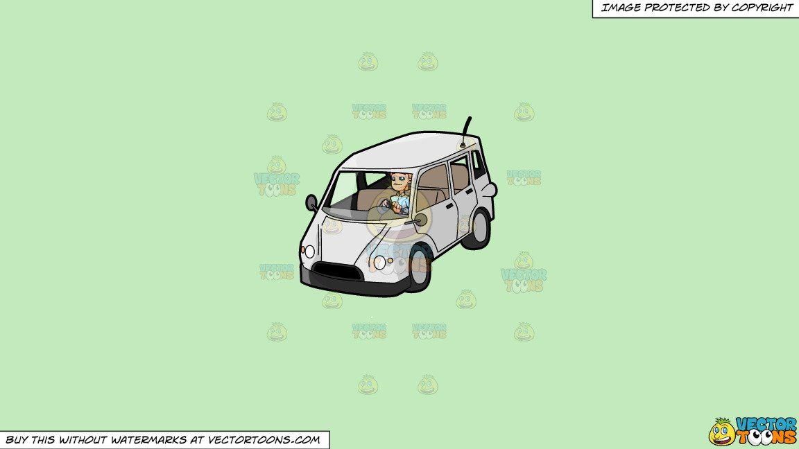 Clipart: A Man Driving A Family Van on a Solid Tea Green C2Eabd Background.