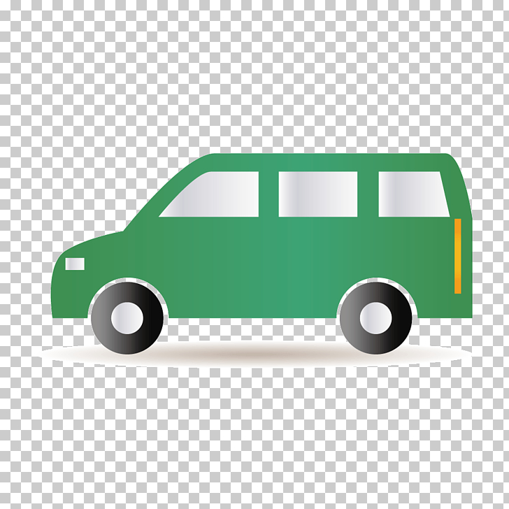 Cartoon van, green vehicle illustration PNG clipart.