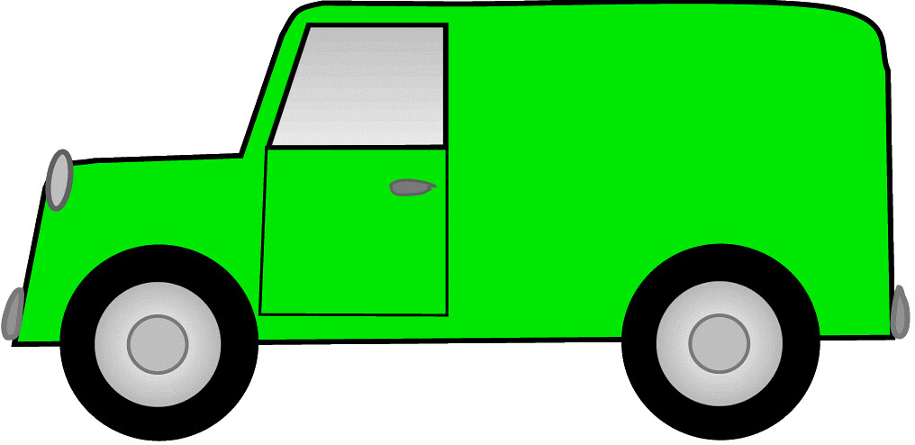 Green van truck sketch clipart,lge 17 cm long.