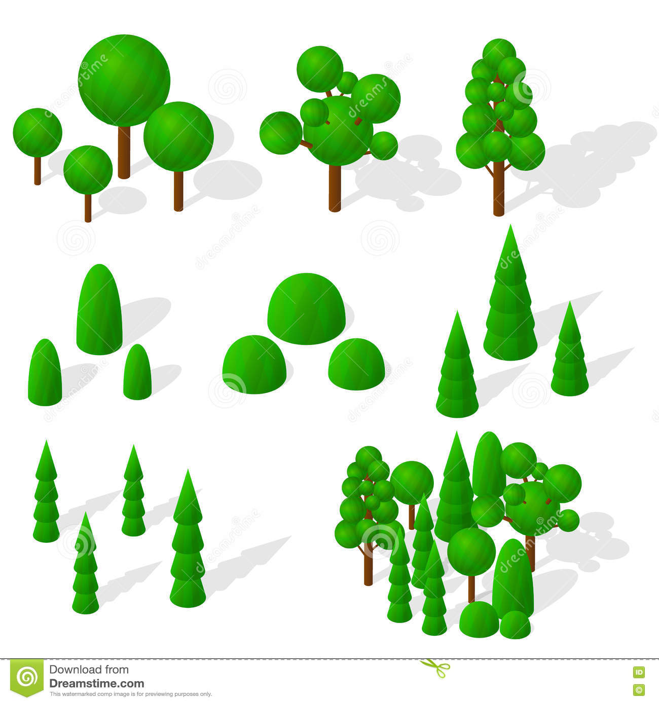 Isometric Trees, Firs And Shrubs. The Green Vegetation. Stock.