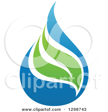 Clipart of a Blue Water Drop and Green Leaf Light Bulb Ecology.