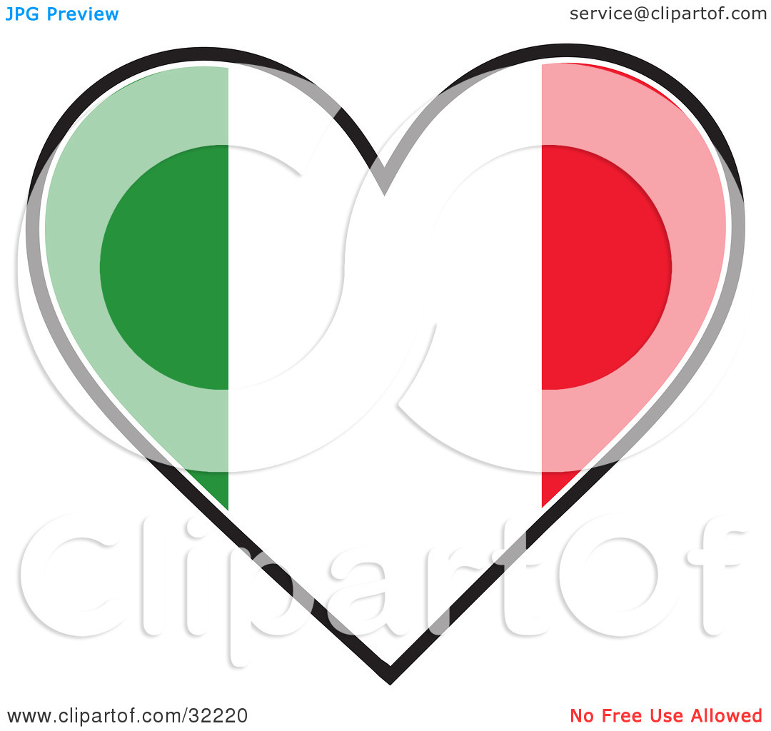 Clipart Illustration of a Heart Shaped Green, White And Red.