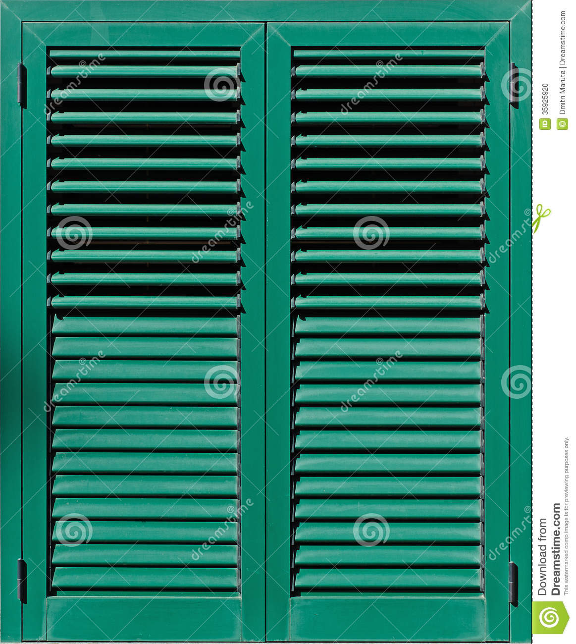 Window With Green Shutters, Stock Photo.
