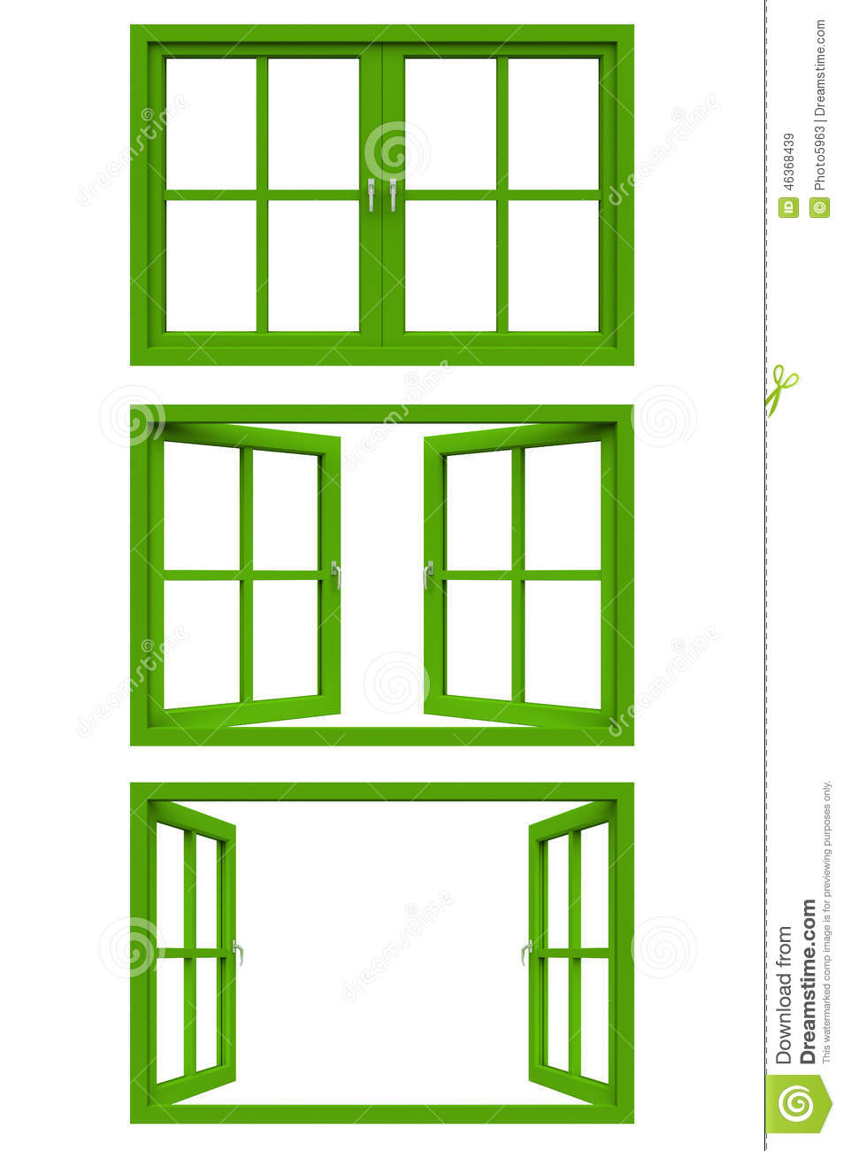 Green Window Frame Stock Illustration.
