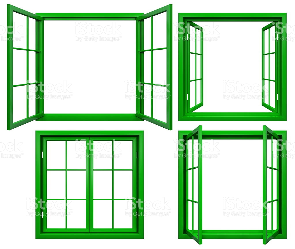 Collection Of Green Window Frames Isolated On White stock photo.