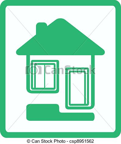 Clip Art of icon with house, door and window.