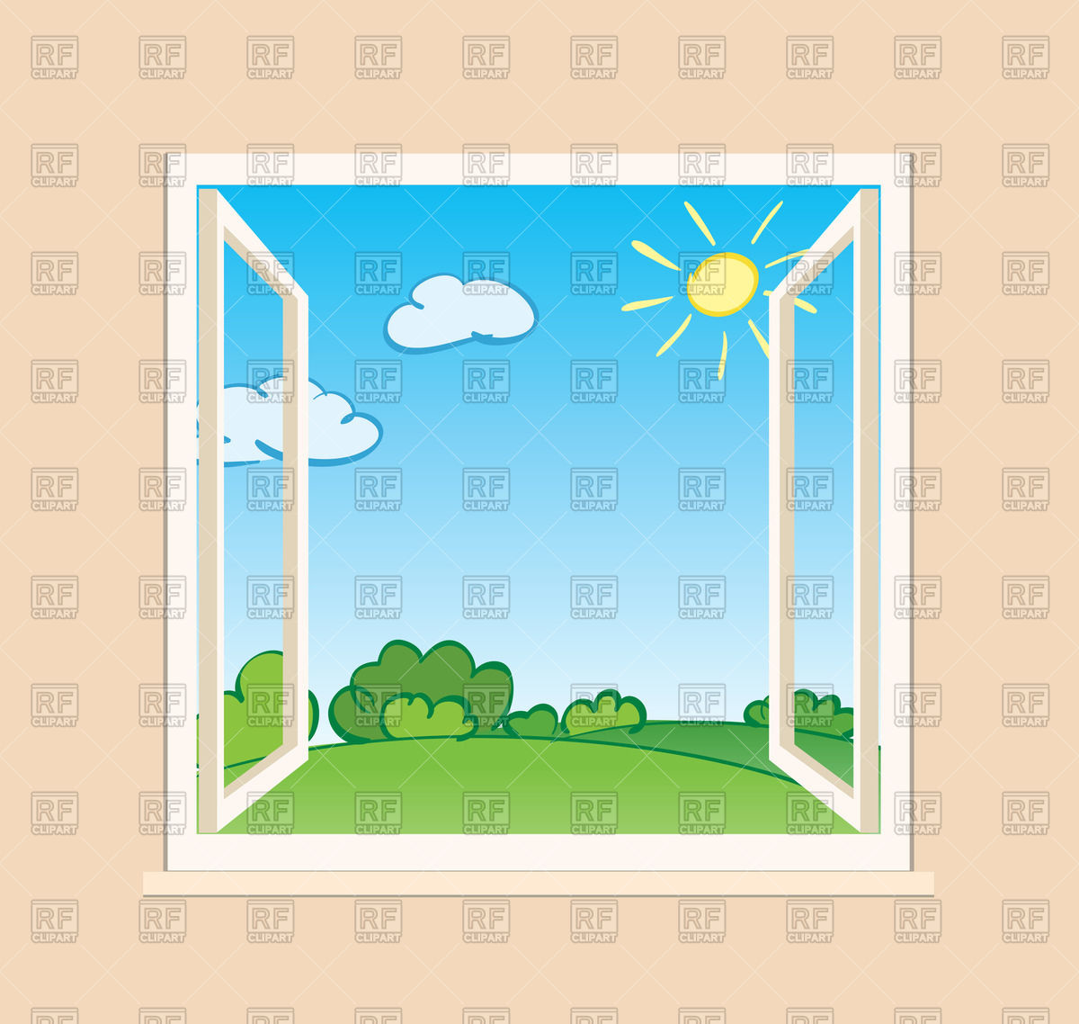 Open window with green nature landscape Vector Image #73054.