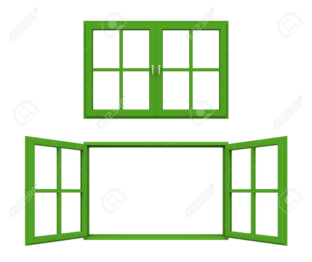 Green Window Frame Stock Photo, Picture And Royalty Free Image.