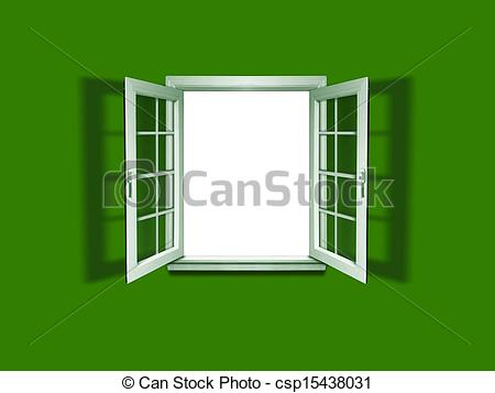Drawings of Open window on green wall csp15438031.