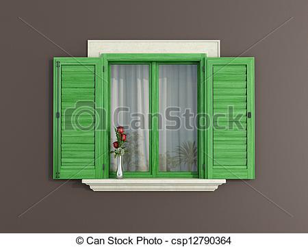Stock Illustration of Green wooden window.