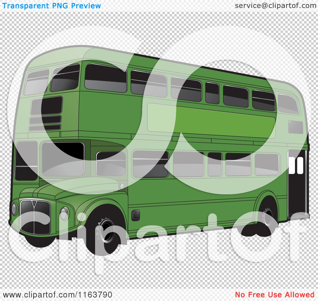 Clipart of a Green Double Decker Bus with Tinted Windows.