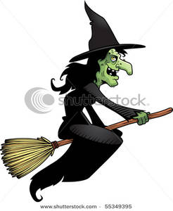 A Green Witch Flying on a Broomstick.